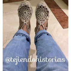 Siguenos en instagram como @tejiendohistorias  Alpargatas o espadrilles en crochet