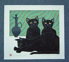 TADASHIGE NISHIDA Japanese Woodblock Print PARENT AND CHILD