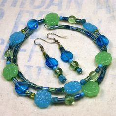 $18 Milk Glass Beaded Memory Wire Necklace and Earrings in Green and Blue Gift Set Choker Unique Handmade Jewelry by o2designs @Etsy @OnFireforHandmade