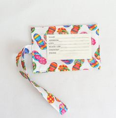 Luggage  ID Tags  Gift Card Holder  Flip Flop Fabric by Quiltwear, $6.25