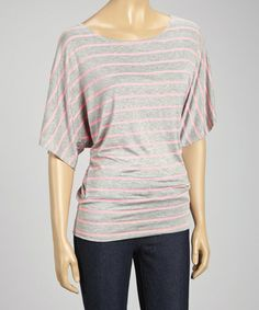 Another great find on #zulily! Pink & Gray Stripe Dolman Top #zulilyfinds