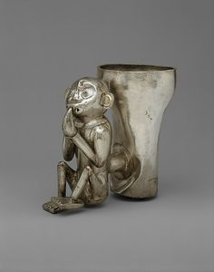 Double Vessel, Monkey  Date:     14th–15th century Geography:     Peru Culture:     Chimú Medium:     Silver