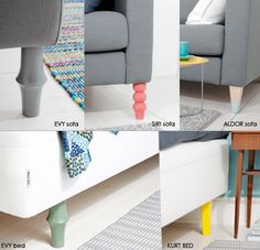 "Swedish company ""prettypegs"", makes furniture legs for IKEA sofas and chairs!  Cool!"