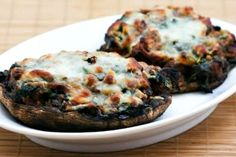 Recipe for Grilled Portobello Mushrooms Stuffed with Sausage, Spinach, and Cheese