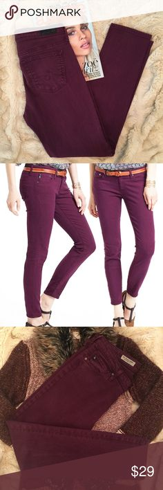 AG Stevie Ankle Slim Straight Leg Jeans 28R, Wine Pair of AG jeans. The Stevie Ankle Slim Straight Leg fit in size 28R. Worn. Never dried in the dryer. No damage. Unique wine/burgundy color - see images. Ag Adriano Goldschmied Jeans Ankle & Cropped
