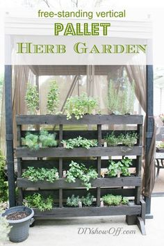 40+ Creative DIY Garden Containers and Planters from Recycled Materials --> DIY Free Standing Pallet Herb Garden