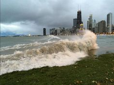 Lisa Gerstner said she was frozen and full of sand--but thrilled to get this shot of the Friday's waves framed against the city skyline. Halloween Howler 2014