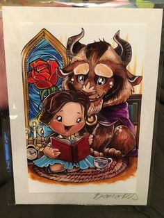 Beauty & Beast by Bianca Roman-Stumpff, signed 5X7, donated by the artist (Sorry for the cellphone pic; can't find it on her site!)