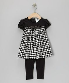 Take a look at this Black & White Houndstooth Corduroy Dress & Leggings - Infant, Toddler & Girls by Joe-Ella on #zulily today!