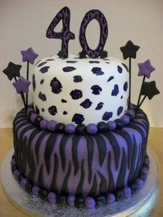 Animal Print 40th Birthday Cake