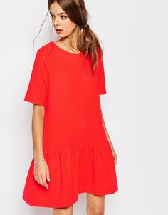 Image 2 of Suncoo Open Back Drop Waist Dress in Red