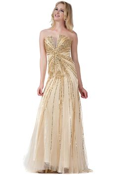 Chanpagne Sequined Evening Gown on Sale