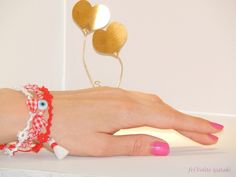 Red white bracelets  Needle tatting friVolite Gataki