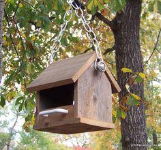 Wooden Rustic Bird Feeder