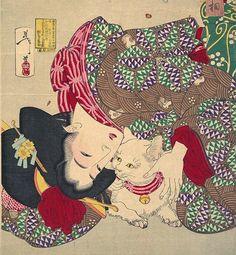 "Woodblock print by Tsukioka Yoshitoshi ""Teasing the Cat"""