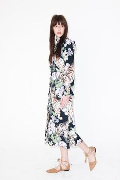 Floral midi dress, white beige, pale green dark blue H&M, pointed tan lace up ankle strap shoes Whistles