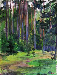 """Рылов Аркадий Александрович (1870-1939). """"Лес"""" холст,масло. 28×22см, 1939г."""