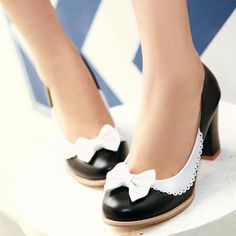 Bowknot Black PU Chunky Heels