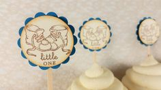 Baby Cupcake Toppers Booties Baby Shower Gender by LazyDayCottage