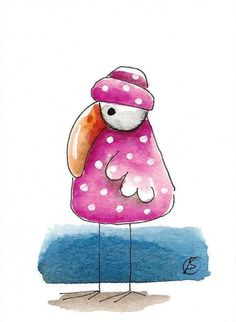 ACEO Original watercolor art painting whimsical pink bird with white dots #IllustrationArt