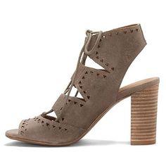 Lucky Brand Tafia Lace-Up Block-Heel Sandal - Brindle