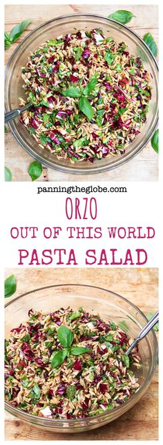 Out Of This World Pasta Salad. This is the most amazing pasta salad I've ever come across - has chopped radicchio, parmesan, basil, sun-dried tomatoes, garlic, balsamic.....