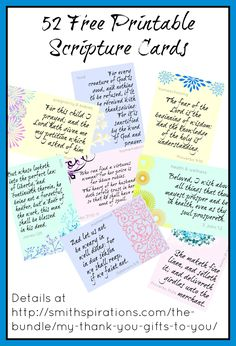Get a FREE pack of 52 printable 4x6 Scripture cards to encourage you as a wife, mom, homemaker, and more! Details at Smithspirations.com