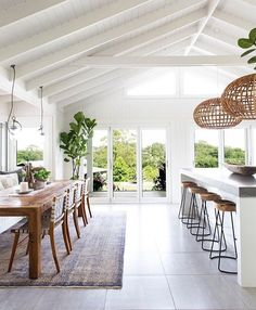 Dining Room Design Ideas For The Warmth Of Your Family - home design Raked Ceiling, Open Ceiling, Vaulted Ceiling Kitchen, Vaulted Ceiling Lighting, White Ceiling, Ceiling Windows, Wall Of Windows, Painted Ceiling Beams, Dining Room Ceiling Lights