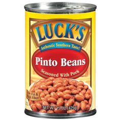FRI- Luck's Pinto Beans Seasoned with Pork Gourmet Recipes, Dog Food Recipes, Lentil Recipes, Pinto Beans, Refried Beans, Onion, Slow Cooker, Pork, Seasons