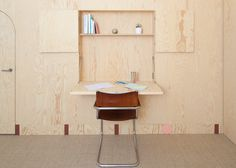 Ideas about Home Design for Fold out desk space Inhabited wooden walls in Geneva by Aurélie Monet Kasisi Plywood Desk, Plywood Walls, Plywood Furniture, Wooden Walls, Built In Furniture, Recycled Furniture, Furniture Design, Plywood Interior, Interior Walls