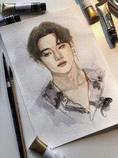 Kpop Drawings, Art Drawings Sketches, Taehyung Fanart, Bts Taehyung, Arte Sketchbook, Fan Art, Kpop Fanart, Grafik Design, Portrait Art