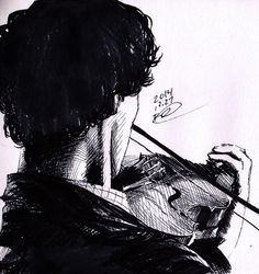 Playing His Violin by more-art-tea.
