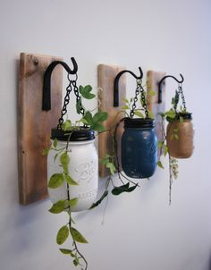 Individual Hanging Painted Mason Jar, Wall Decor, mounted to wood base with wrought iron hooks, rustic decor, painted jars, farmhouse decor by PineknobsAndCrickets on Etsy