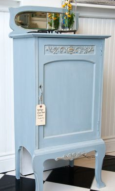 Salvaged Inspirations | Featuring The Painted Bench |  A sweet Annie Sloan Chalk Painted Antique Sheet Music Cabinet... love the beveled mirror.