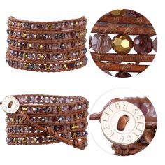Kelitch Handmade Crystal Beads on Leather 5 Wrap Bracelet Fashion Bangle Jewelry…