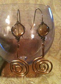 Wire Wrapped Copper Swirl Earrings by GrecoGirlJewelry on Etsy, $10.50