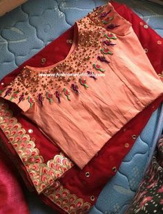 Pattu Saree Blouse Designs, Blouse Designs Silk, Blouse Patterns, Stylish Blouse Design, Work Blouse, Embroidered Blouse, Zardosi Work, Red Saree, Saree Dress