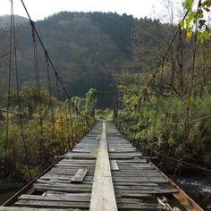 Old wooden foot-bridge, Niigata.