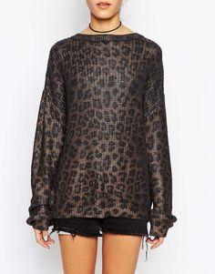 The Ragged Priest Steel Leopard Oversized Sweater