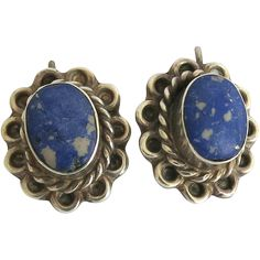 Vintage Taxco Sterling Sodalite Pierced Earrings Complex Matrix 925 from cousinsantiques on Ruby Lane