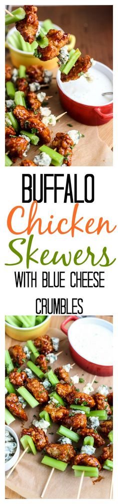 Crispy BBQ chicken bites tossed in sweet BBQ sauce, tangy blue cheese crumbles, and crunchy celery, on a skewer, makes a super simple appetizer! Takes 5 minutes to assemble! SO EASY! Perfect football (Blue Cheese Making) Chicken Bites, Chicken Skewers, Bbq Chicken, Chicken Recipes, Buffalo Chicken, Tapas, Appetizer Recipes, Simple Appetizers, Skewer Appetizers