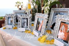 silver wedding picture display