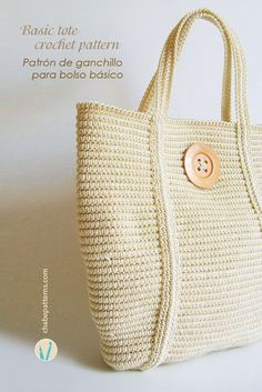 Crochet pattern for basic tote, in tapestry crochet, chart with symbols, photo tutorial and written instructions/ Patrón de ganchillo para bolso básico en tapestry crochet, esquema con símbolos, foto tutorial e instrucciones escritas by Chabepatterns