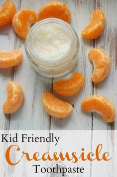 Kid Friendly Creamsicle Toothpaste - This tooth paste is so easy to make, pretty inexpensive, and my kids LOVE the flavor! #kids #toothpaste #creamsicle #homemade #nontoxic #natural #teeth