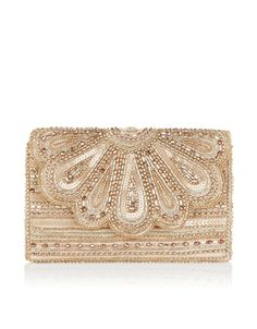 Our vintage-inspired Molly clutch bag is intricately embellished with sparkling sequins and beads. This satin-lined style has a scallop-edged front with a ma...