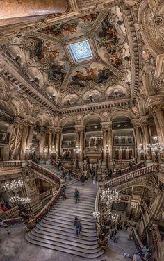 Opéra Garnier interior with a wide angle lens. Avenue Vendome in Paris.