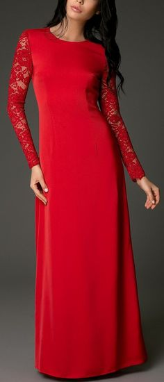 Lace Sleeved Backless Long Evening Dress