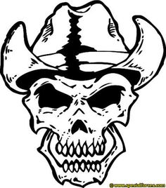 military skull drawings | Skull wearing Cowboy Hat - Customizable on Mens Short Sleeve T-Shirt