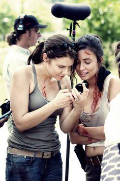 Lauren Cohan & Christian Serratos on the set ~ The Walking Dead