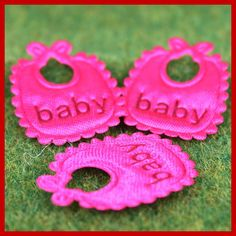 50 pcs applique embellishment baby girl bib fuchsia by AboveDeluxe, $1.90
